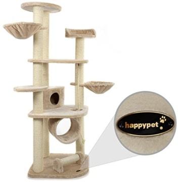 Happypet® CAT021 Kratzbaum Katzenbaum mittelhoch 1,86 m hoch Beige - 3