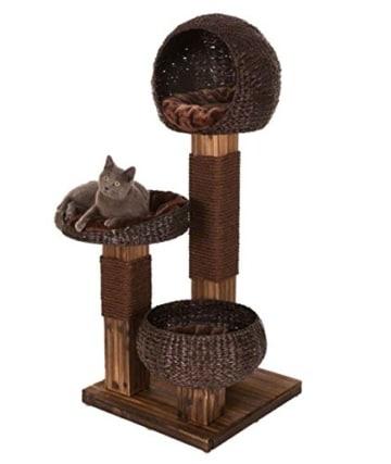Kippsicherer und robuster Design Kratzbaum mit flambiertem Holz und 3 Etagen - Jedes Stück ein UNIKAT! - 2