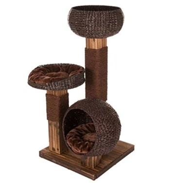 Design Kratzbaum mit flambiertem Holz und 3 Etagen - Jedes Stück ein UNIKAT! - 7