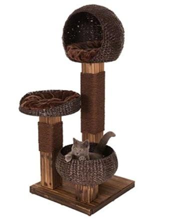 Kippsicherer und robuster Design Kratzbaum mit flambiertem Holz und 3 Etagen - Jedes Stück ein UNIKAT! - 8