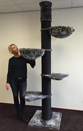 Kratzbaum große katze XXL Maine Coon Tower Blackline Anthrazit. Stämme 20cm Ø. Speziell für große und schwere Katzen. Deckenhoch. Von RHRQuality - 1