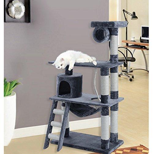 songmics kratzbaum 140 cm hoch mit h ngematte h hle liegemulden spielseil verdickte s ule. Black Bedroom Furniture Sets. Home Design Ideas