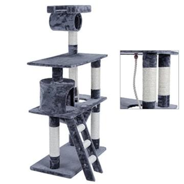 kratzbaum von songmics 140 cm grau mit liegemulde und h ngematte. Black Bedroom Furniture Sets. Home Design Ideas