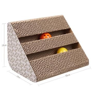 ubest Kratzbrett für Katzen mit Katzenminze, 28*19*19CM, Dreieck Kratzbaum, Kratzmöbel, Haustier Spielzeug - 2