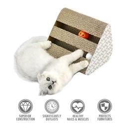 ubest Kratzbrett für Katzen mit Katzenminze, 28*19*19CM, Dreieck Kratzbaum, Kratzmöbel, Haustier Spielzeug - 1