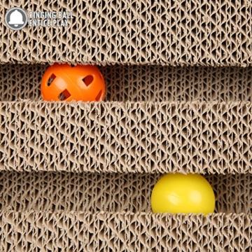 ubest Kratzbrett für Katzen mit Katzenminze, 28*19*19CM, Dreieck Kratzbaum, Kratzmöbel, Haustier Spielzeug - 4