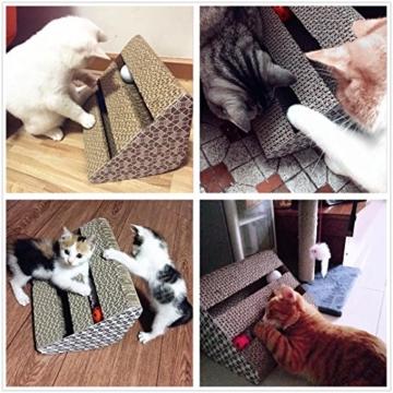 ubest Kratzbrett für Katzen mit Katzenminze, 28*19*19CM, Dreieck Kratzbaum, Kratzmöbel, Haustier Spielzeug - 6