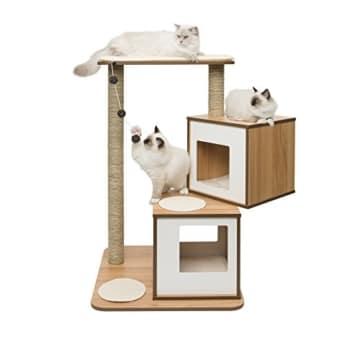 """Vesper Katzenmöbel """"Double"""" walnut - zwei Kubus-Höhlen mit einer Plattform - 1"""