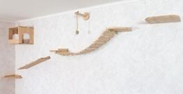 Wand Kratzbaum aus Holzelementen, Wandpark für Katzen